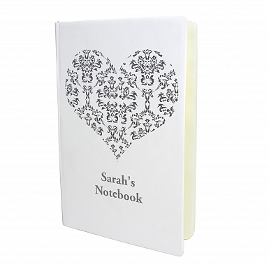 Personalised Damask Heart Hardback A5 Notebook