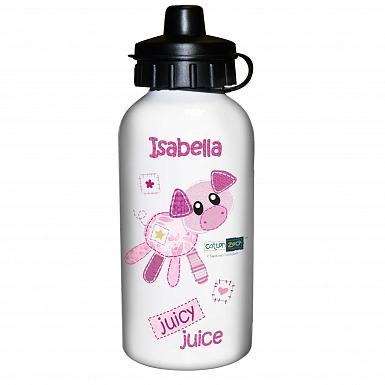 Personalised Cotton Zoo Organdie The Piglet Drinks Bottle