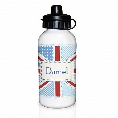 Personalised Patchwork Union Jack Drinks Bottle