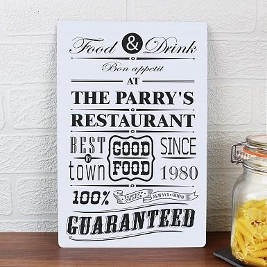 Personalised Food & Drink Restaurant Plaque
