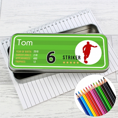 Personalised Team Player Pencil Tin with Pencil Crayons