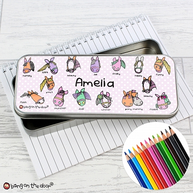 Personalised Bang on the Door Pony Pencil Tin with Pencil Crayons