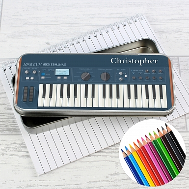 Personalised Keyboard Pencil Tin with Pencil Crayons