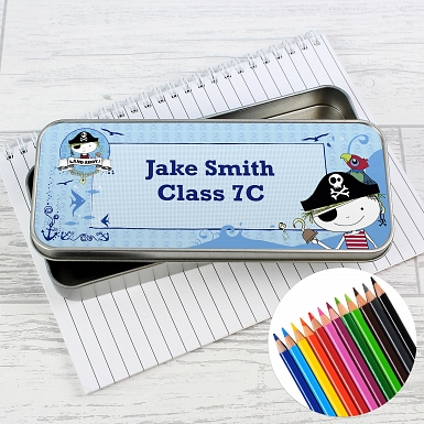 Personalised Pirate Pencil Tin with Pencil Crayons