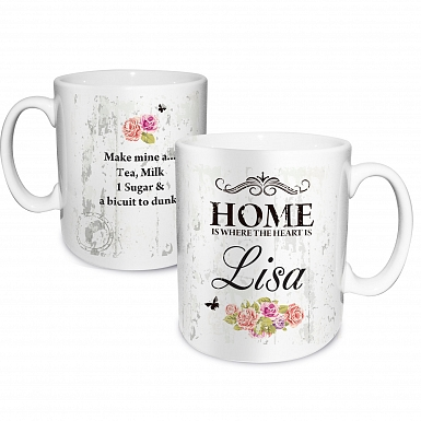 Personalised Shabby chick Floral Mug