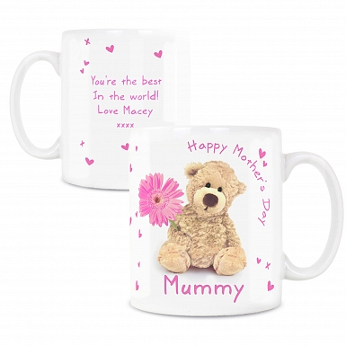 Personalised Teddy Flower Mug