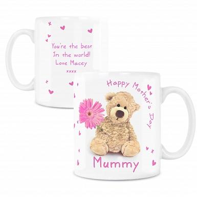Personalised Teddy Flower Mug