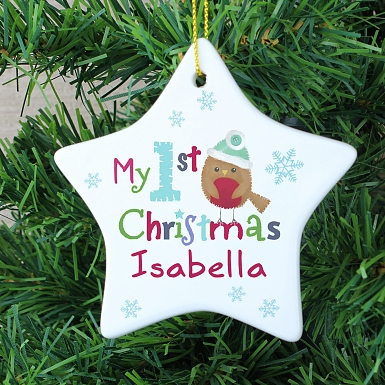 Personalised Felt Stitch Robin 'My 1st Christmas' Ceramic Star Decoration