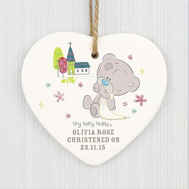 Personalised Tiny Tatty Teddy Christening Ceramic Heart Decoration
