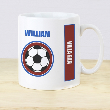 Personalised Claret and Blue Football Fan Mug