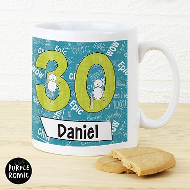 Personalised Purple Ronnie Big Age Male Mug