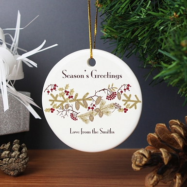 Personalised Christmas Floral Round Ceramic Decoration