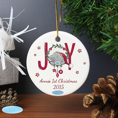 Personalised Me To You JOY Round Ceramic Decoration