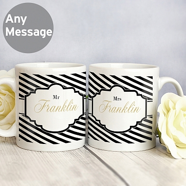 Personalised Art Deco Striped Mug Set