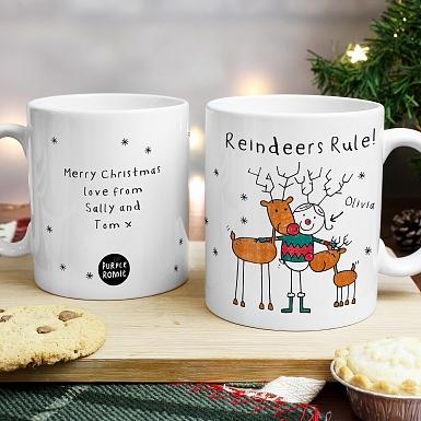 Personalised Purple Ronnie Reindeers Female Mug