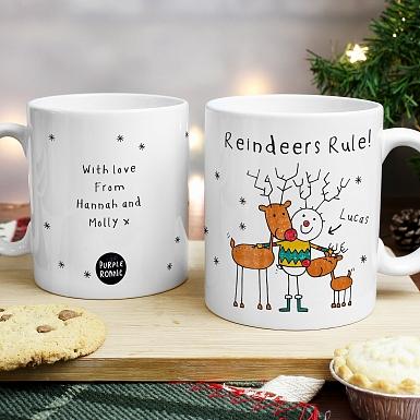 Personalised Purple Ronnie Reindeers Male Mug