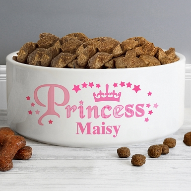 Personalised Princess 16cm Large White Pet Bowl