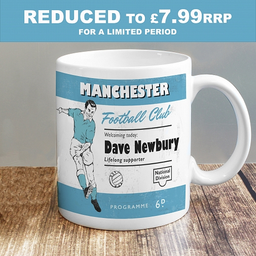 Personalised Vintage Football Sky Blue and White Supporter's Mug