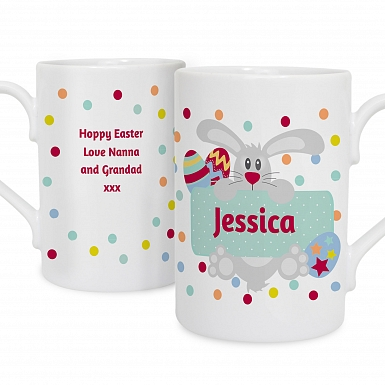 Personalised Easter Bunny Spotty Slim Mug