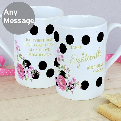 Personalised Floral Dot Slim Mug