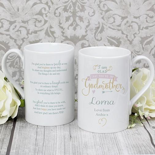 Personalised I Am Glad... Godmother Slim Mug