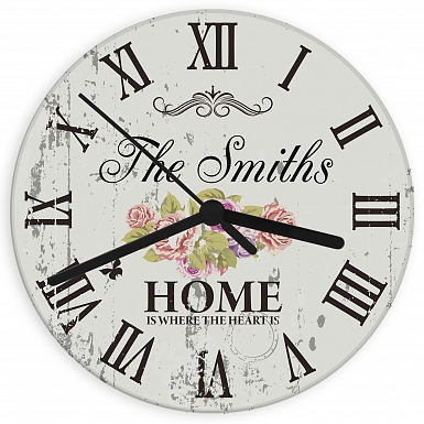 Personalised Shabby chick Floral Glass Clock