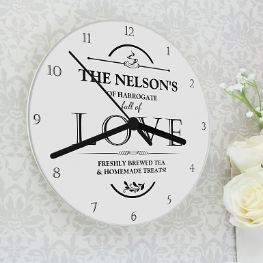 Personalised Full of Love Glass Clock