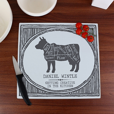 Personalised Meat Cuts Glass Chopping Board