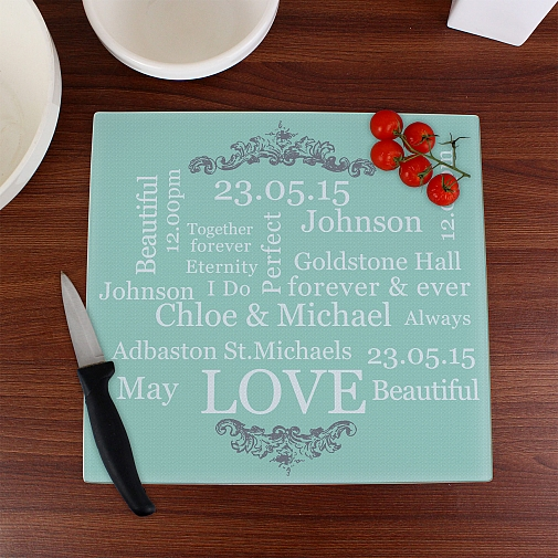 Personalised Typography Glass Chopping Board