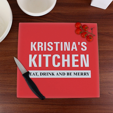 Personalised Kitchen Glass Chopping Board