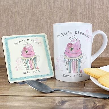 Personalised Vintage Pastel Cupcake Mug & Coaster Set