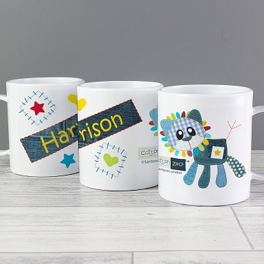 Personalised Cotton Zoo Denim the Lion Plastic Cup