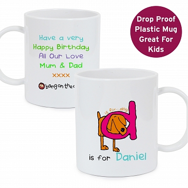 Personalised Bang On The Door Animal Alphabet Boys Plastic Mug