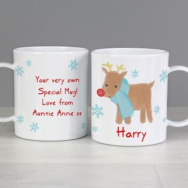 Personalised Felt Stitch Reindeer Plastic Mug