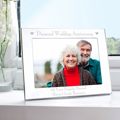 Personalised Silver 5x7 Diamond Anniversary Landscape Photo Frame