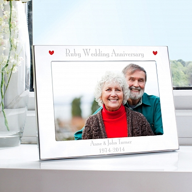 Personalised Silver 5x7 Ruby Anniversary Landscape Photo Frame