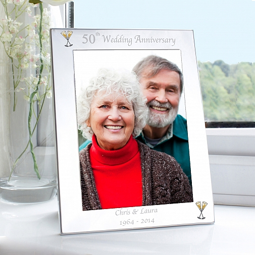 Personalised Silver 5x7 50th Wedding Anniversary Photo Frame