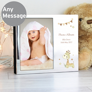 Personalised Hessian Giraffe Photo Frame Album 6x4