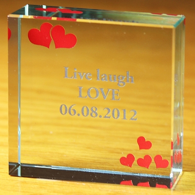 Personalised Red Hearts Medium Crystal Token