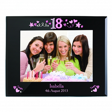 Personalised 18th Birthday Black Glass 5x7 Frame