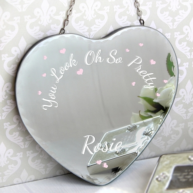 Personalised Oh So Pretty... Hanging Heart Mirror