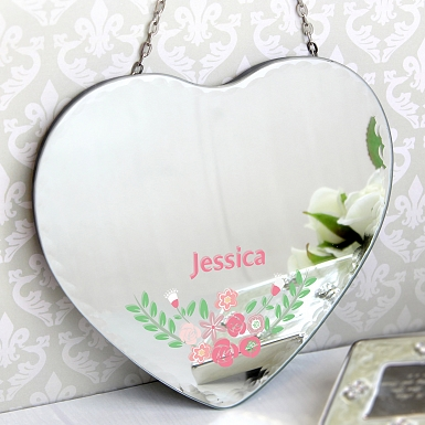 Personalised Vintage Floral Hanging Heart Mirror
