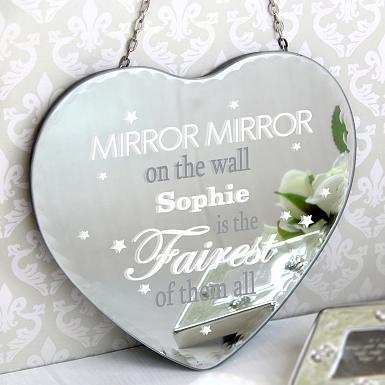Personalised Mirror Mirror... Hanging Heart Mirror