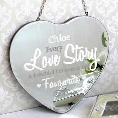 Personalised I Love You Hanging Heart Mirror
