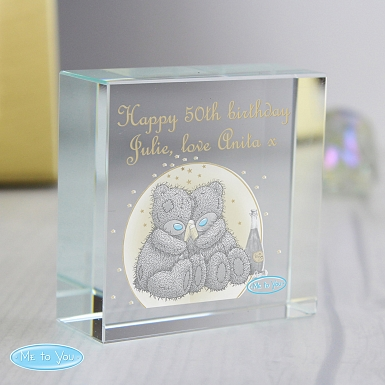 Personalised Me To You Gold Stars Medium Crystal Token