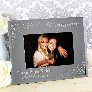 Personalised Eighteen Diamante 6x4 Glass Photo Frame