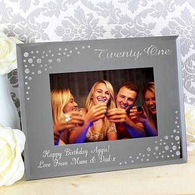 Personalised Twenty One Diamante 6x4 Glass Photo Frame
