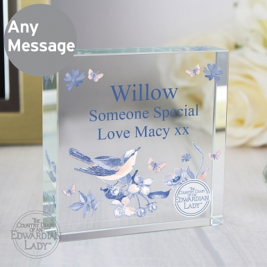 Personalised Country Diary Blue Blossom Large Crystal Token
