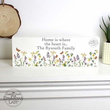 Personalised Country Diary Wild Flowers Mantel Block