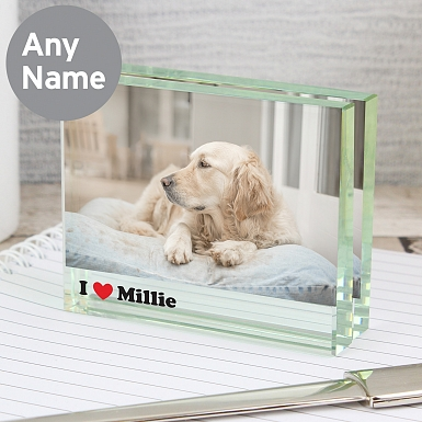 Personalised I Heart Crystal Photo Block Frame